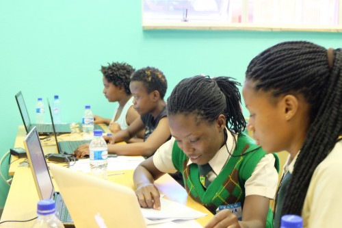 Young women in a computing lesson.
