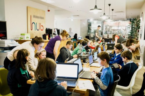 A CoderDojo coding session for young people.