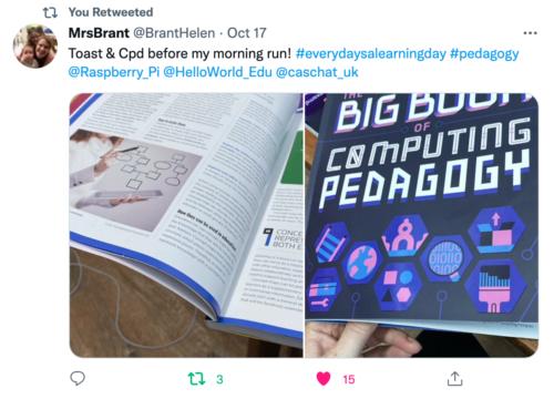 A tweet praising The Big Book of Computing Pedagogy.