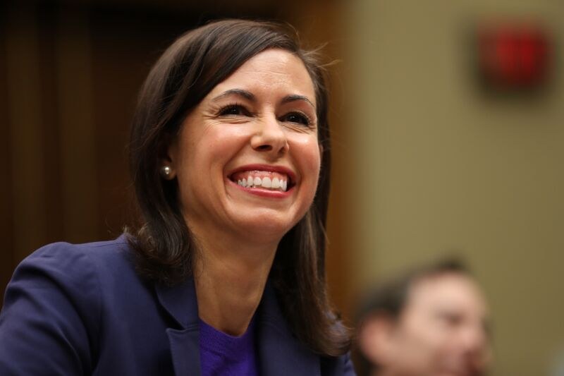FCC Commissioner Jessica Rosenworcel smiling as she testifies in front of Congress during a 2019 hearing.