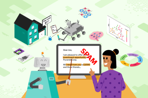Drawing of a machine learning robot helping a human identify spam at a computer.