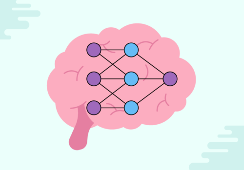 drawing of a small machine learning neural network.