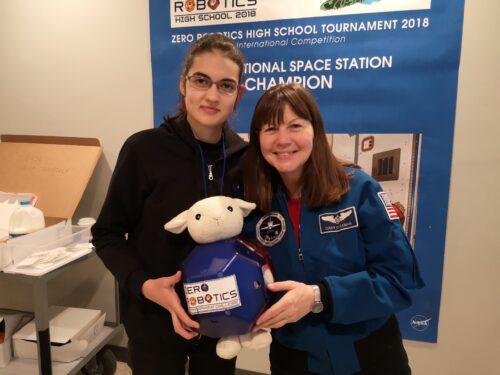 Laura, teenage roboticist and CoderDojo Ninja, with and-Catherine Grace Coleman.
